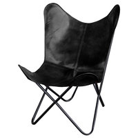 Black Leather Cover Butterfly Chair