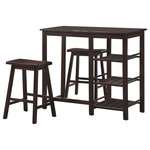 ACME Furniture - Nyssa 3-Piece Pack Counter Height Set, Walnut - The Nyssa 3 Piece pack breakfast set offers simple lines with a versatility perfect for any small dining space. This breakfast table features a smooth rectangular top, tapered legs, and ample storage shelves perfect for apartments or small kitchen areas. The two matching armless stools include wooden saddle seat, and square legs. All carefully crafted with selected woods and veneers in walnut finish. (Assembly Required)