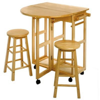 Space Saver, Drop Leaf Table with 2 Round Stools