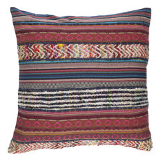 Marrakech Pillow, Ivory, Gold, Rust, Cherry, Hot Pink, Navy, Polyester Filler
