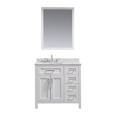 Tahoe Single Vanity Set, White With Carrara Marble Top, 36""