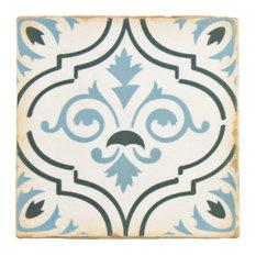 "4.88""x4.88"" Chronicle Ceramic Floor/Wall Tiles, Fleur De Lis"