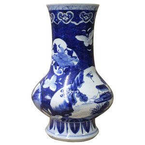 Chinese Blue White Porcelain Scenery Flower Graphic Slim Body Vase Hcs3610  sc 1 st  Houzz & Jewel Accented Distressed Pink Cowboy Boot Flower Vase ...