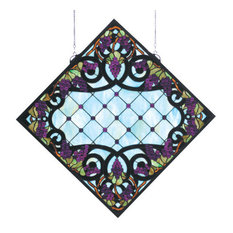 "25 5""Wx25 5""H Jeweled Grape Stained Glass Window"