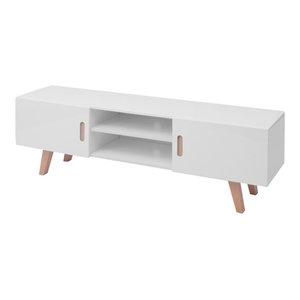 vidaXL MDF High Gloss TV Stand, White, 150x46.5x48.5 cm