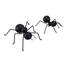 2 Piece Set of Decorative Metal Black Ant Statues