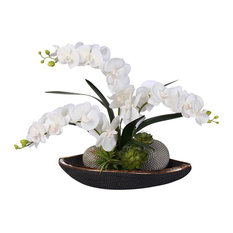 Real Touch Phalaenopsis Silk Orchids With Succulents in Beadwork Bowl