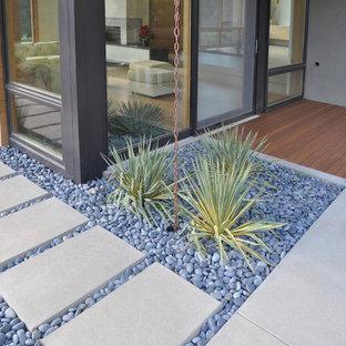 Esempio di un giardino xeriscape moderno con sassi di fiume