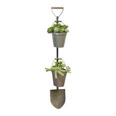 Metal Shovel Planter, Gray