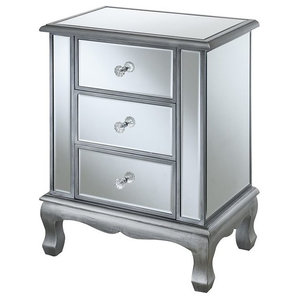 Convenience Concepts Gold Coast Vineyard 3 Drawer Mirrored End Table in Silver