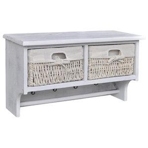 VidaXL Wooden Wall Shelf With Hangers 2 Weaving Baskets 4-Hook, White