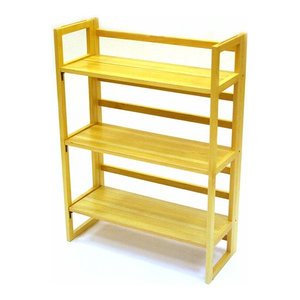 Folding Bookshelf in Solid Oak Wood with 3 Open Shelves for additional Storage