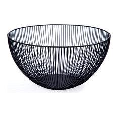 "Modern and Sleek Beautiful Kai Tall Fruit Bowl, 12"", Black"