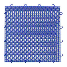 "12""x12"" Armadillo Interlocking Plastic Floor Tiles, Set of 9, Cobalt Blue"