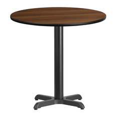 30-inch Round Walnut Laminate Table Top With 22-inch Table H Base