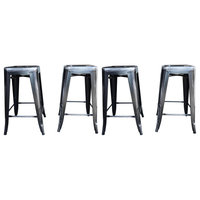 Industrial Metal Stackable Bar Stools, Antique Black/Silver, Set of 4