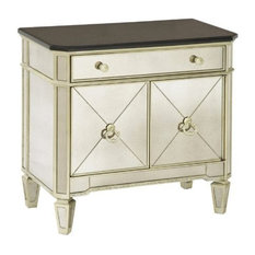 Bassett Mirror Borghese Chairside Commode Silver Leaf