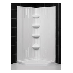"DreamLine 36""x36""x75 5/8""H Neo-Angle Shower Base & QWALL-2 Corner Backwall Kit"