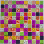 """Susan Jablon Mosaics - 12""""x12"""" Exotica Glass Mosaic Tile Blend, Full Sheet - 10 different glass tiles in shades of red, purple, pink, blue, green and metallic are combined to form this custom mosaic blend we will make by hand for you in our studios in upstate New York."""