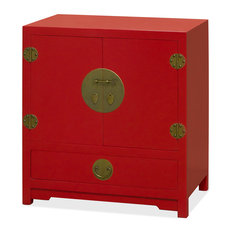 Chinese Ming Style Red Cabinet, Without Bowl and Faucet