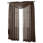 """Royal Tradition - Abri Single Rod Pocket Sheer Curtain Panel, Chocolate, 50""""x84"""" - Want your privacy but need sunlight? These crushed sheer panels can keep nosy neighbors from looking inside your rooms, while the sunlight shines through gracefully. Add an elusive touch of color to any room with these lovely panels and scarves. Sheers enhance the beauty of windows without covering them up, and dress up the windows without weighting them down. And this crushed sheer curtain in its many different colors brings full-length focus to your windows with an easy-on-the-eye color. These rod pocket crushed sheer panels are versatile enough to go from simple to elegant easily. The Abripedic Crushed Sheer Curtain panels are soft to the touch and adds a breezy relaxed look to any sort of d̩cor. This beautiful, solid-colored sheer curtain lets light gently filter through. Clean, simple one-pocket pole top design can be used with a standard or decorative curtain rod."""
