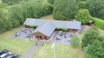T Shape Club House with fibre cement slate roof