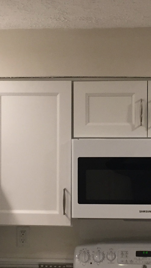 New cabinets with an uneven fur down on