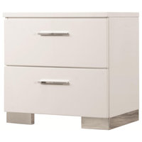 Wooden Nightstand With 2 Drawers/Chrome Metal Legs, White