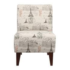 North Accent Slipper Chair, Paris Script