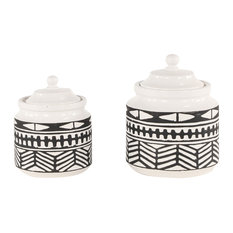 Round Black and White Ceramic Jars With Eclectic Geometric Patterns, Set of 2