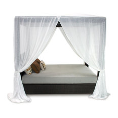 Signature Outdoor Queen Canopy Bed With Sunbrella Cushion And White Sheer Canopy