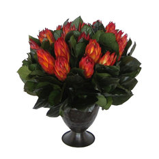 Small Metal Trophy Vase, Red Protea