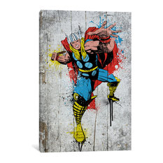 """Marvel Comic Book: Thor Spray Paint"" by Marvel Comics, 26x18x1.5"""