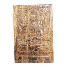 Consigned Yoga Studio Decor Buddha Wall Panel Indian Wall Sculpture Home Decor