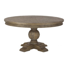 Weathered Grey Solid Teak Round Dining Table 60-inch
