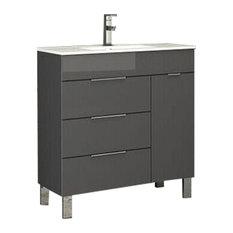 """Geminis Modern Bathroom Vanity With Integrated Sink, Gray, 28"""""""