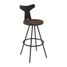 Ulrik Swivel Stool, Base: Textured Black, Seat: Dark Brown, Bar Height