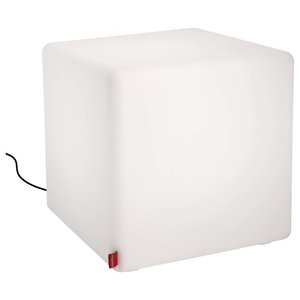 Cube Outdoor Side Table, White LED