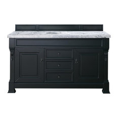 "Brookfield 60"" Antique Black Single Vanity w/ 4cm Carrara White Marble Top"