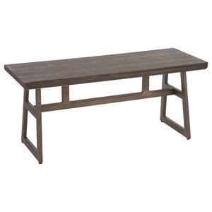 Geo Industrial Bench, Antique Metal/Espresso Bamboo