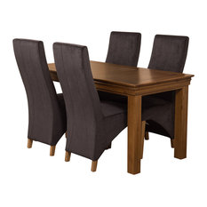 French Chateau Oak Dining Table With 4 Lola Chairs, 150 cm, Black Velvet Effect