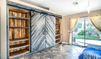 Built-Ins - Chevron Sliding Doors and Interior Shelves