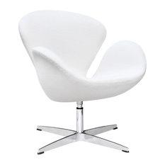 Modern Swan Lounge Chair White Wool