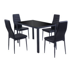 Costway 5 Piece Kitchen Dining Set Glass Metal Table And 4 Chairs Furniture