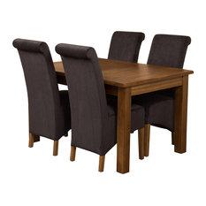 Cotswold Rustic Oak Extending Table, 4 Montana Chairs, Black Velvet Effect