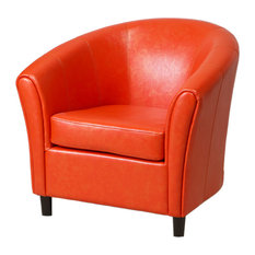 GDFStudio   Newport Leather Club Chair, Orange   Armchairs And Accent Chairs