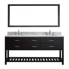 "Caroline Estate 72"" Double Bathroom Vanity Cabinet Set, Espresso"