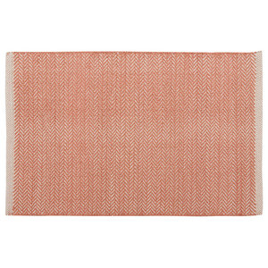 Handwoven Coral Field Cotton Rug, 60x90 Cm