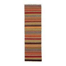 Ooty Stripe Wool Kilim Runner Rug
