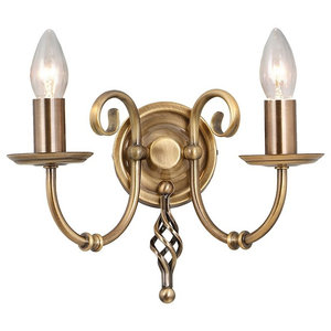 Traditional Aged Brass Double Wall Light With Knot Detail